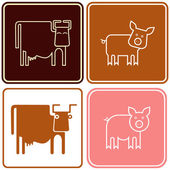 Pig and cow - sign — Stock Vector