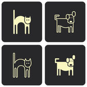 Cat and dog - vector icons, symbols — Stock Vector
