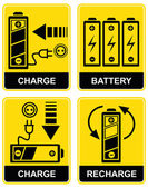 Battery charge - vector sign — Vector de stock