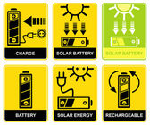 Solar battery, charge, recharge — Stock Vector