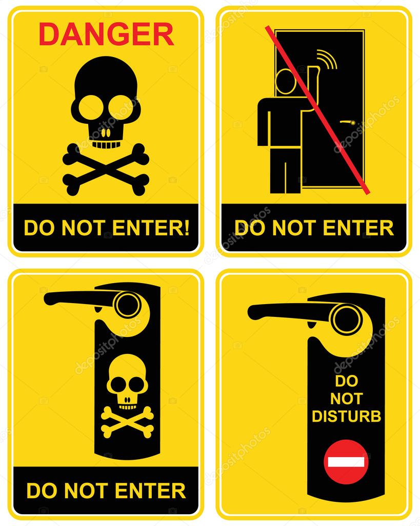 Do not enter, do not disturb, Danger - a set of prohibition signs. Black and yellow vector icon - a man knocks on the door, the skull and crossbones. Caution, w — Stock Vector #1860795