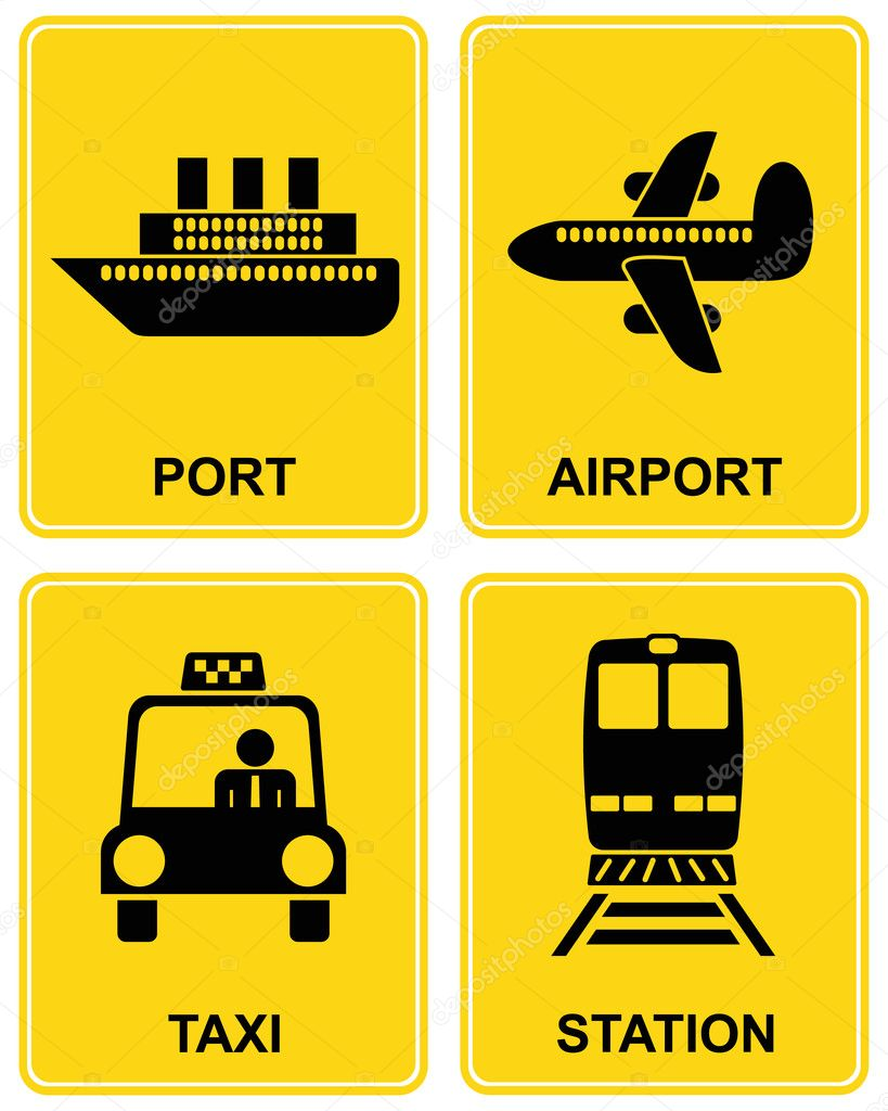 Airport, railway station, train station, taxi parking, sea port - set of information vector signs. — Stock Vector #1903236