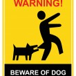 Stock Vector: Warning - beware of dog