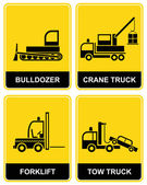 Bulldozer, crane, tow truck, forklift — Stock Vector