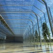 Transparent glass interior with sunlight — Stock Photo