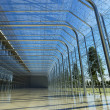 Transparent glass interior with sunlight - Stock Photo