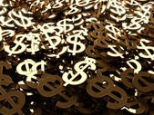 Gold dollar signs background — Stock Photo