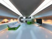 Futuristic modern interior — Stock Photo