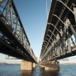 steel railroad bridge — Stock Photo
