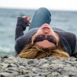 Young lady on Beach Resting — Stock Photo
