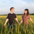 Young Couple Walking Field Holding Hands — Stock Photo