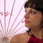 Lady with asian umbrella — Stock Photo