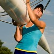 Girl holding boat — Stockfoto