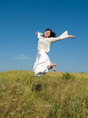 Happy Lady Running — Stock Photo