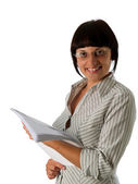 Young businesswoman with papers — Stock Photo