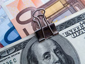 Binded dollars and euros — Stock Photo