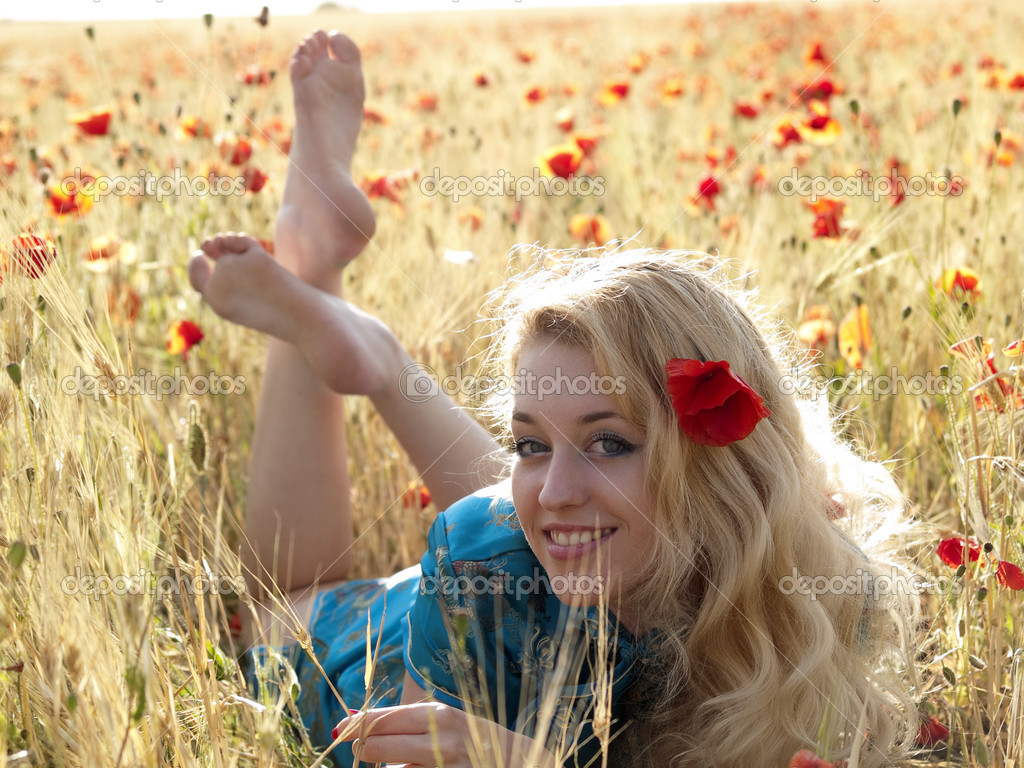 Barefoot blonde in poppies stock photo antony84 1072503 for Barefoot blonde