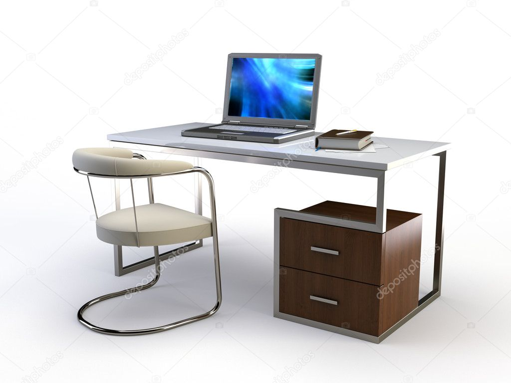 Stylish 3d chair and table on white — Stock Photo #1770045
