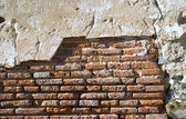 The facade view of the old brick wall fo — Stock Photo
