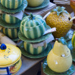 Set of colored handmade ceramics — Stock Photo