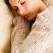 Stock Photo: Beautiful woman lying and sleep