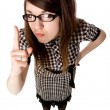 Young girl with glasses shows a finger — Foto Stock