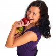 Young beautiful girl with fruit — Stock Photo #1015475