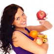 Young beautiful girl with fruit — Stock Photo #1015818
