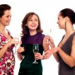 Three Young Women Enjoying Champagne — Stockfoto #1017279