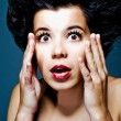 Closeup portrait of surprised young lady — Stock Photo #1017285