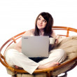 Closeup of a young woman using laptop — Stock Photo