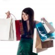 An attractive young lady out shopping. — Stock Photo