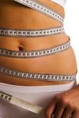 Měření dokonalý tvar krásná žena — Stock fotografie