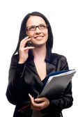 Beautiful businesswomen speaking with so — Stock Photo