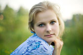 A beautiful blond haired blue eyed model — Stock Photo