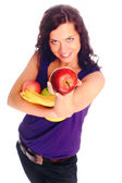 Young beautiful girl with fruit — Stock Photo