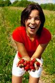 Young beautiful girl with strawberry — Stock Photo