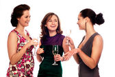 Three Young Women Enjoying Champagne — 图库照片