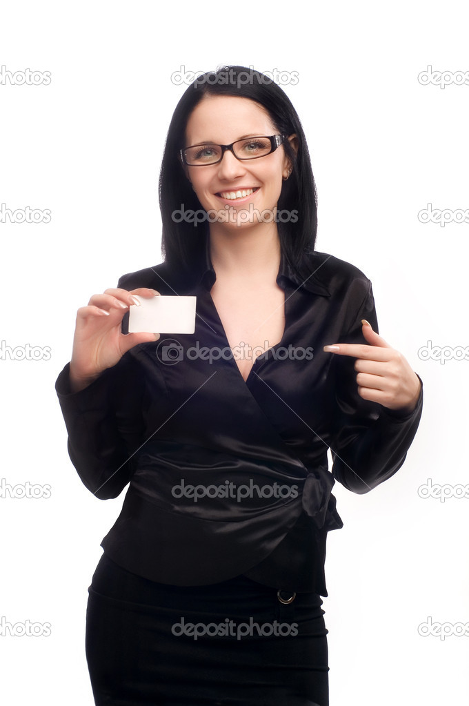 Business woman with a business card on a white isolated background  Stock Photo #1015460