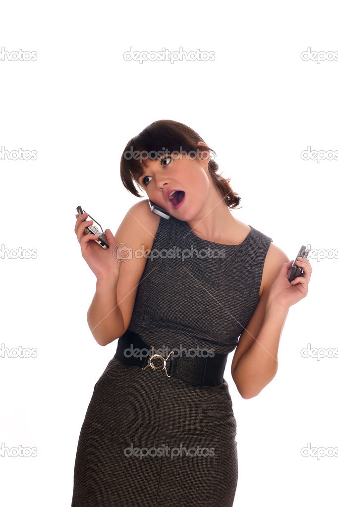 Beautiful businesswomen speaking with somebody by mobile phone — Stock Photo #1015530