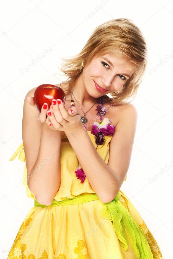 Pretty young smiling woman with red apple.  Stock Photo #1016768
