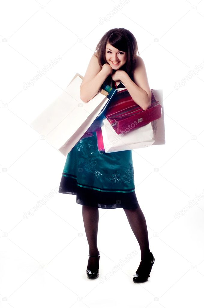 An attractive young lady out shopping.  Stock Photo #1017408