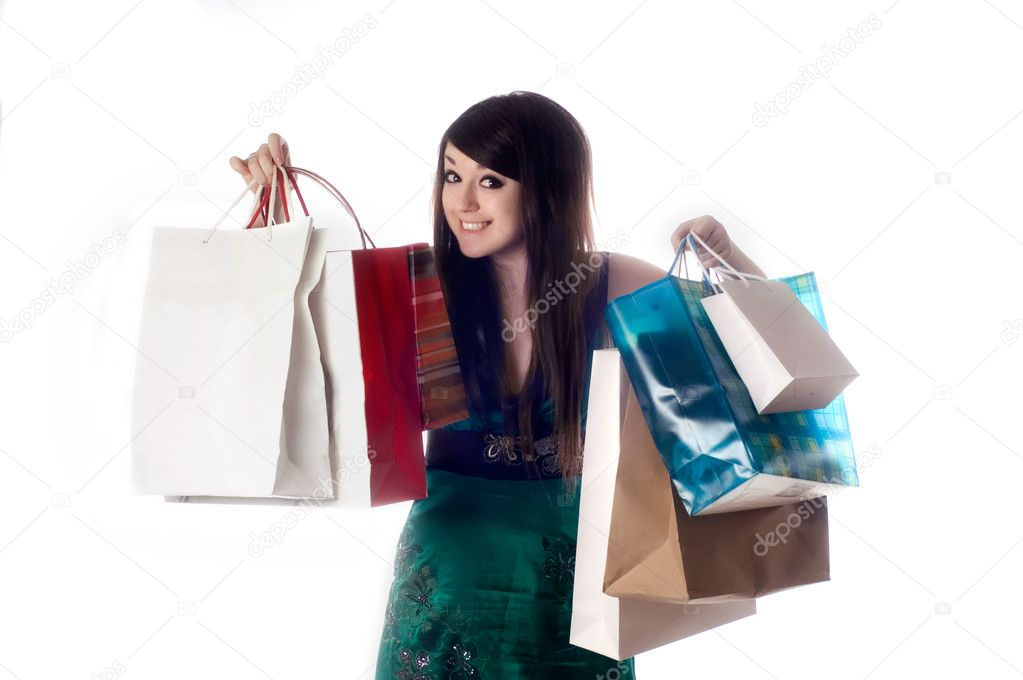 An attractive young lady out shopping on white backgound — Stock Photo #1017447
