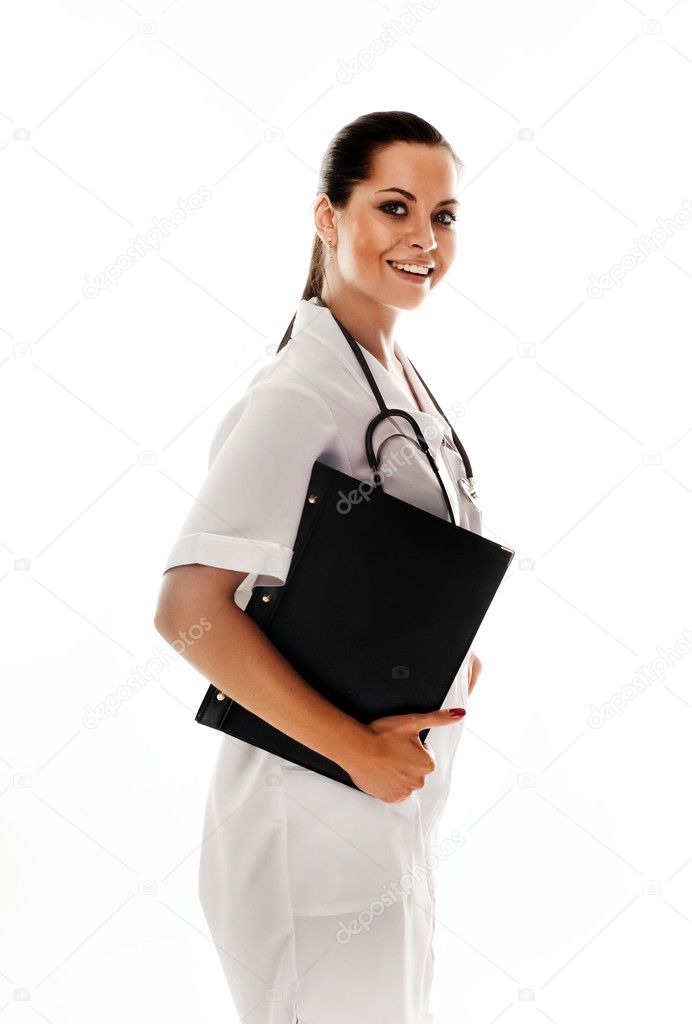 Smiling medical doctor with stethoscope. Isolated over white background — Stock Photo #1019913