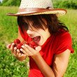Stock Photo: Young beautiful girl with strawberry