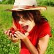 Young beautiful girl with strawberry — Stock Photo #1020034