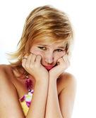 Sad young blonde, studio shot — Stock Photo