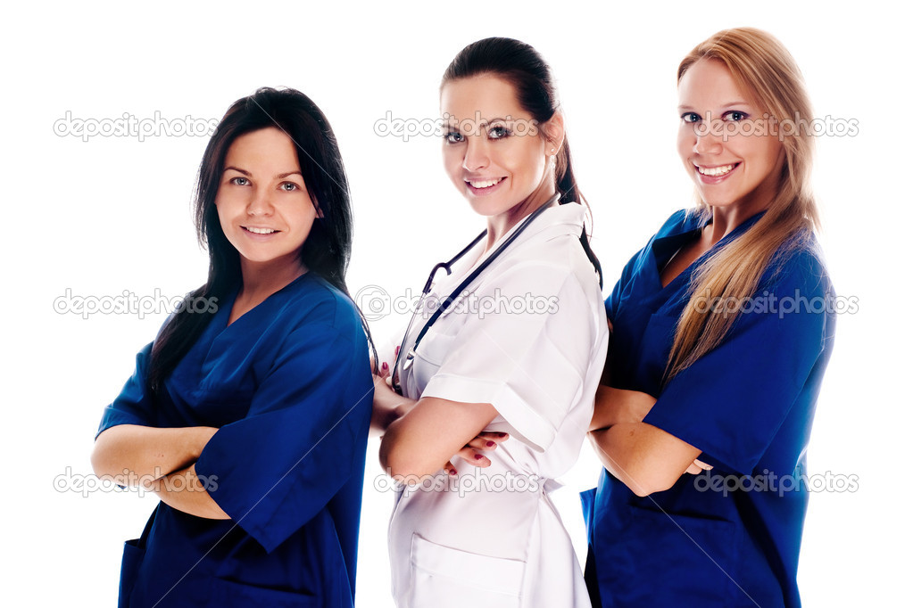 Smiling medical with stethoscopes. Doctors and nurses over white background — Stock Photo #1020595