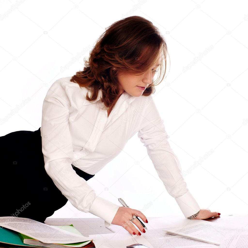 Businesswoman writing documents — Stock Photo #1021677