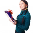 Happy woman with a present — Stock Photo